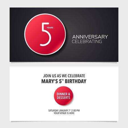 5 years anniversary invitation card, flyer vector illustration