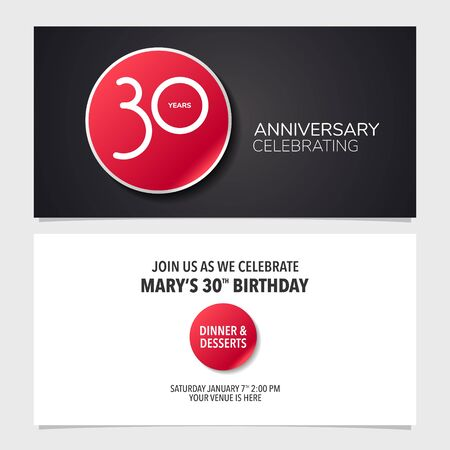 30 years anniversary invitation card vector illustration. Double sided graphic design template Ilustração