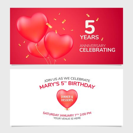 5 years anniversary invitation vector illustration. Design template element with romantic background Illustration
