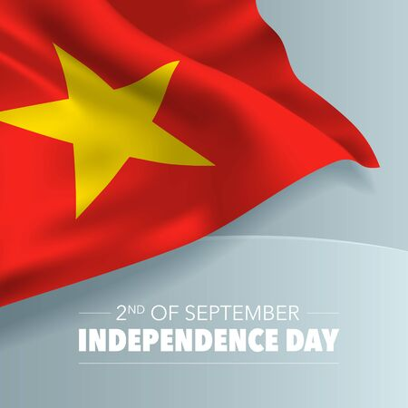 Vietnam happy independence day greeting card, banner, vector illustration. Vietnamese holiday 2nd of September design element with flag with curves