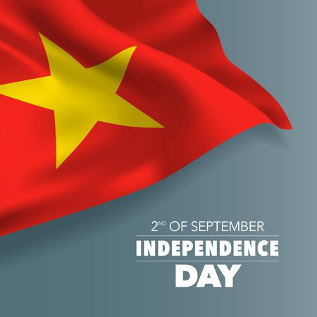 Vietnam happy independence day greeting card, banner, vector illustration. Vietnamese national day 2nd of September background with elements of flag, square format Banque d'images - 128117870