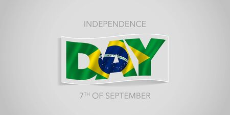 Brazil happy independence day vector banner, greeting card. Brazilian wavy flag in nonstandard design for 7th of September national holiday