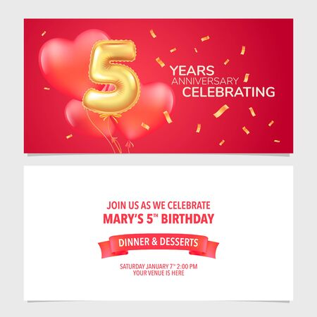 5 years anniversary invitation vector illustration. Design template card