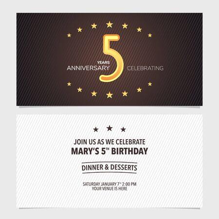 5 years anniversary invitation vector illustration. Design template element