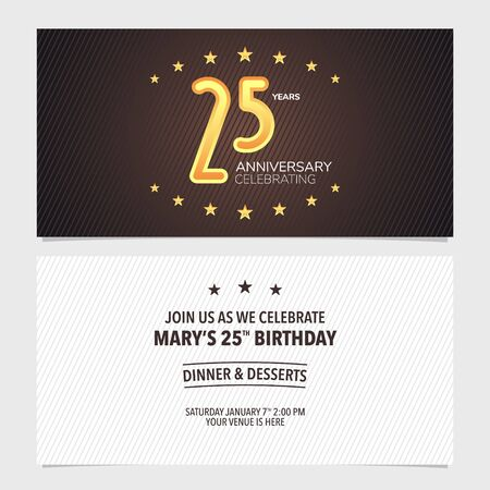 25 years anniversary invitation vector illustration. Design template element Vectores