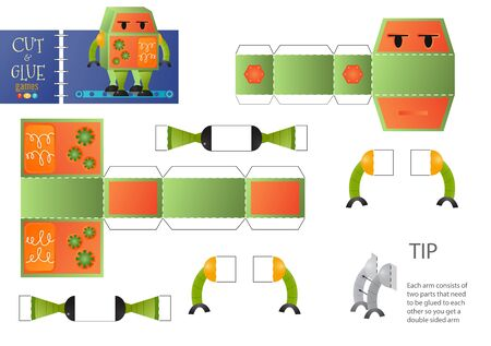Cut and glue robot toy vector illustration. Paper craft and educational worksheet