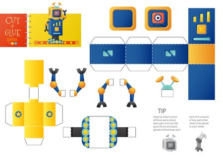 Cut and glue robot toy vector illustration, worksheet. Paper craft and diy riddle