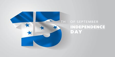 Honduras happy independence day greeting card, banner, vector illustration. National day 15th of September background with elements of flag Çizim