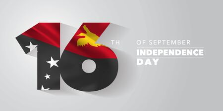 Papua New Guinea independence day greeting card, banner, vector illustration. National day 16th of September background with elements of flag Çizim
