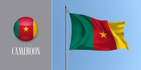 Cameroon waving flag on flagpole and round icon vector illustration. Realistic 3d mockup of stripes of Cameroonian flag and circle button Banque d'images - 128761250