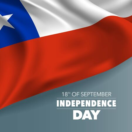 Chile independence day greeting card, banner, vector illustration  イラスト・ベクター素材
