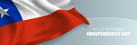 Chile independence day vector banner, greeting card