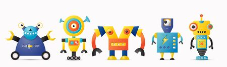 Set of cute vector robot or monster characters for kids. Vintage futuristic cyborgs