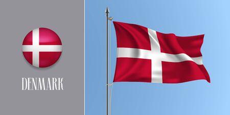 Denmark waving flag on flagpole and round icon vector illustration 일러스트