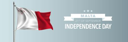 Malta happy independence day greeting card, banner vector illustration. Maltese national holiday 21st of September design element with waving flag on flagpole