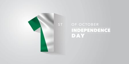 Nigeria independence day greeting card, banner, vector illustration