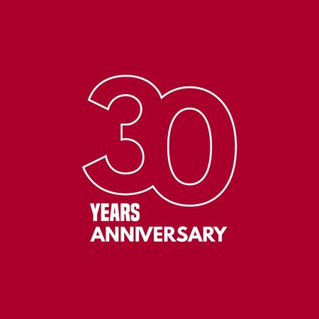 30 years anniversary vector icon, logo. Graphic design element with number and text composition Çizim
