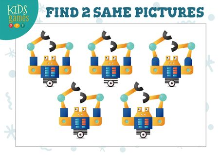 Find two same pictures kids game vector illustration