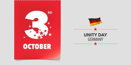 Germany unity day greeting card, banner, vector illustration. Ilustração