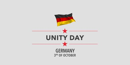 Germany unity day greeting card, banner, vector illustration. Çizim