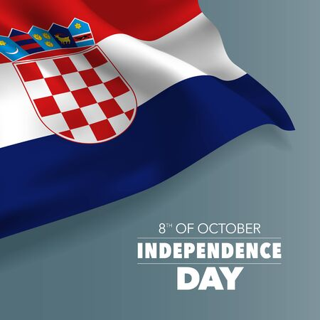 Croatia independence day greeting card, banner, vector illustration