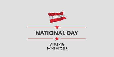 Austria happy national day greeting card, banner, vector illustration