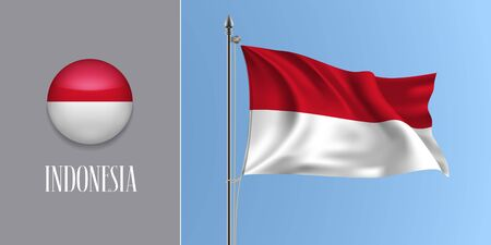 Indonesia waving flag on flagpole and round icon vector illustration