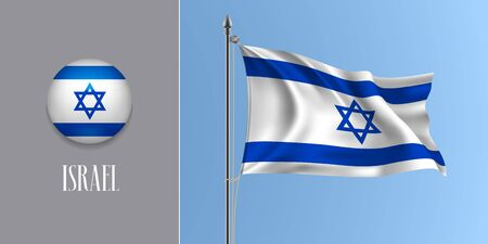 Israel waving flag on flagpole and round icon vector illustration Vector Illustration