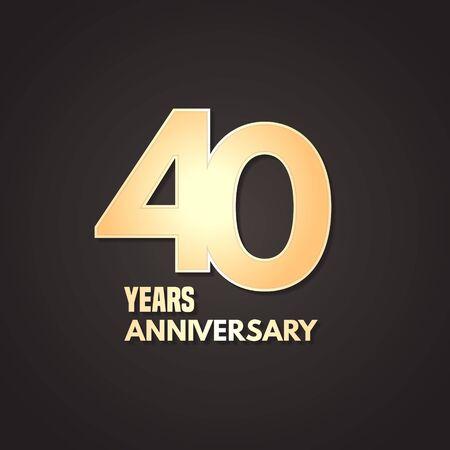40 years anniversary vector icon, logo. Graphic design element Stock Illustratie