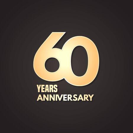 60 years anniversary vector icon, logo. Graphic design element