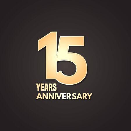 15 years anniversary vector icon, logo. Graphic design element Stock Illustratie