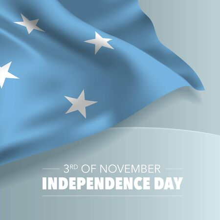 Micronesia independence day greeting card, banner, vector illustration Фото со стока - 132037138
