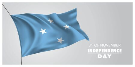 Micronesia independence day greeting card, banner, horizontal vector illustration Фото со стока - 132037143