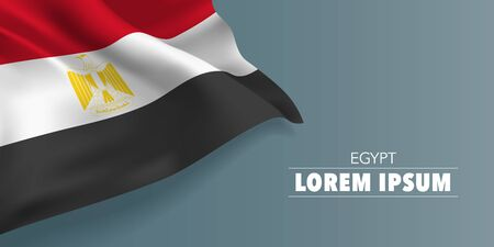 Egypt day greeting card, banner with template text vector illustration