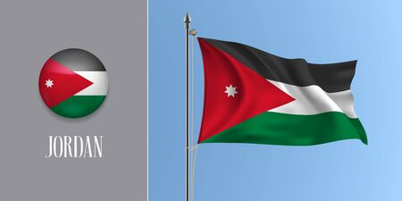 Jordan waving flag on flagpole and round icon vector illustration Ilustrace