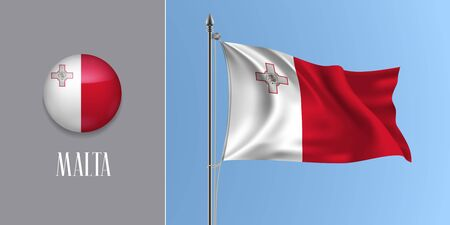 Malta waving flag on flagpole and round icon vector illustration