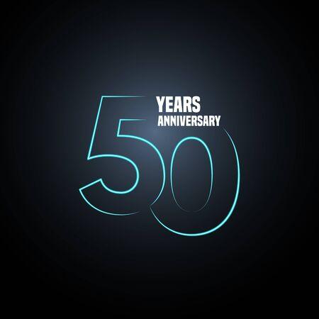 Logo vectoriel anniversaire 50 ans, icône. Élément de design graphique avec numéro néon