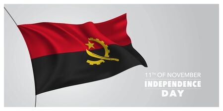 Angola independence day greeting card, banner, horizontal vector illustration