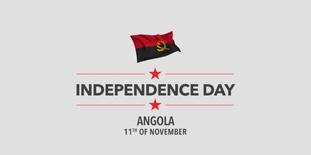 Angola independence day greeting card, banner, vector illustration Ilustrace