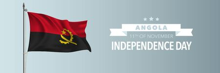 Angola happy independence day greeting card, banner vector illustration. Angolan national holiday 11th of November design element with waving flag on flagpole Ilustrace