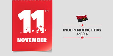 Angola independence day greeting card, banner, vector illustration. Angolan national day 11th of November background with elements of flag in a creative horizontal design Ilustrace