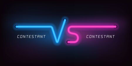 Vs vector icons, logo. Neon lights style for versus sign