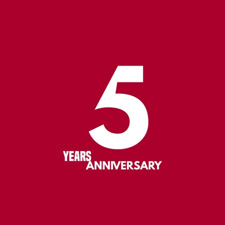 5 years anniversary vector icon, logo. Design element with composition of digit and text Illustration