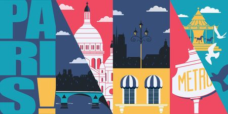 Paris, France vector skyline illustration, postcard. Travel to Paris modern flat graphic design