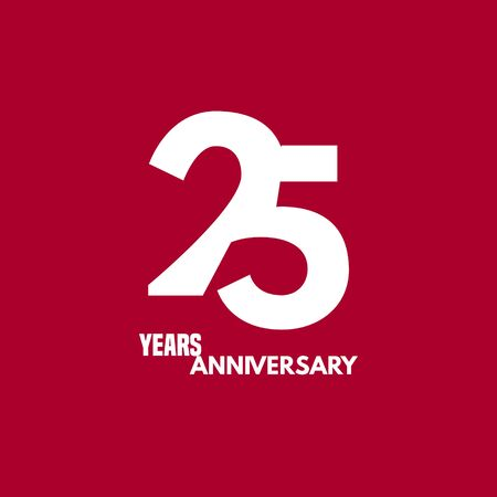 25 years anniversary vector icon, logo. Design element with composition of digit and text
