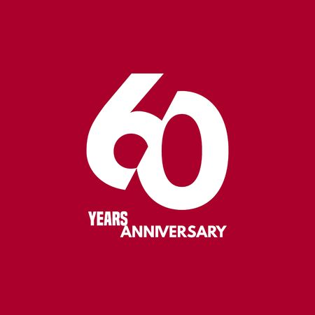 60 years anniversary vector icon, logo. Design element with composition of digit and text