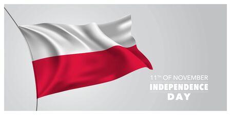 Carte de voeux de la fête de l'indépendance de la Pologne, bannière, illustration vectorielle horizontale Vecteurs
