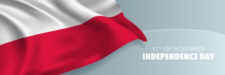 Poland independence day vector banner, greeting card. Polish wavy flag in 11th of November national patriotic holiday horizontal design