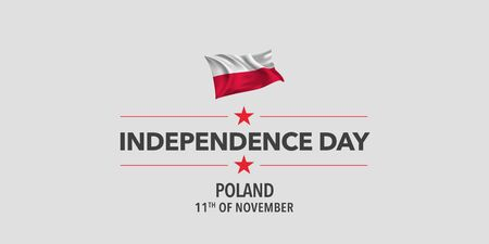 Poland independence day greeting card, banner, vector illustration