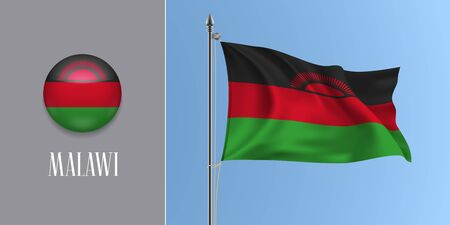 Malawi waving flag on flagpole and round icon vector illustration. Realistic 3d mockup with design of Malawian flag and circle button